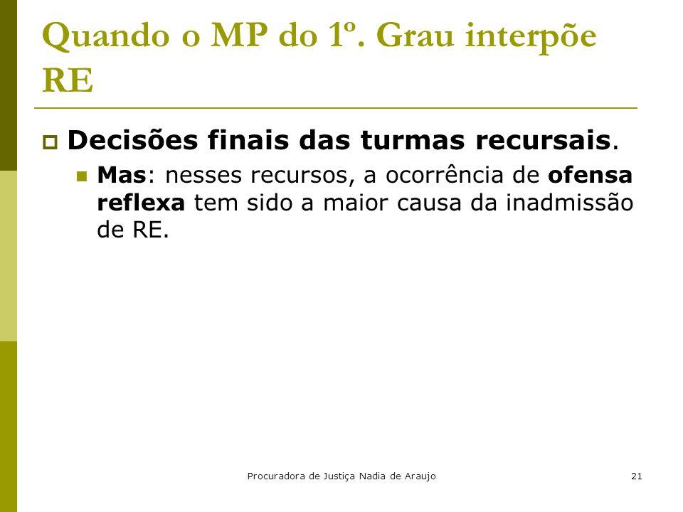 Procuradora de Justiça Nadia de Araujo21 Quando o MP do 1º. Grau interpõe RE  Decisões finais das turmas recursais. Mas: nesses recursos, a ocorrênci