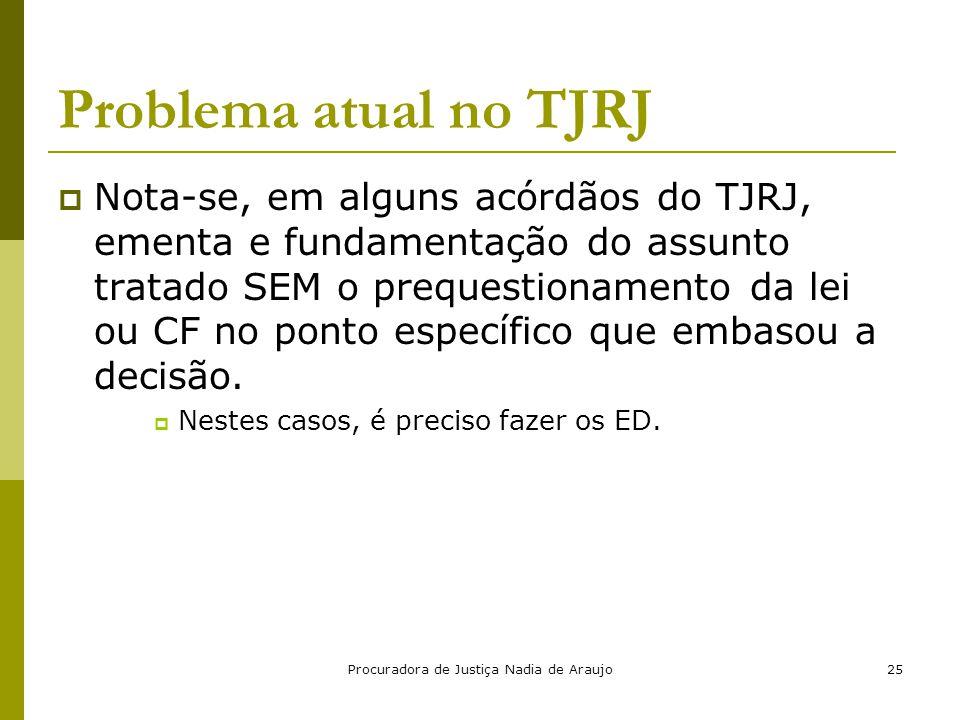 Procuradora de Justiça Nadia de Araujo25 Problema atual no TJRJ  Nota-se, em alguns acórdãos do TJRJ, ementa e fundamentação do assunto tratado SEM o