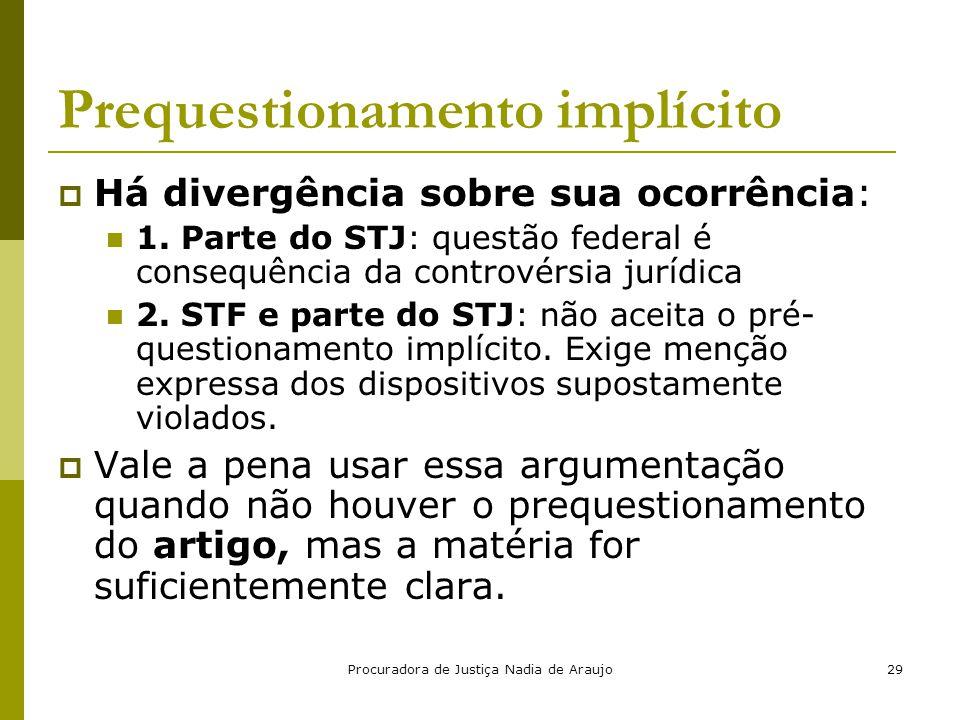 Procuradora de Justiça Nadia de Araujo29 Prequestionamento implícito  Há divergência sobre sua ocorrência: 1. Parte do STJ: questão federal é consequ