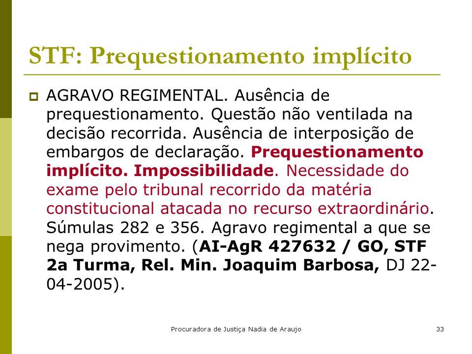 Procuradora de Justiça Nadia de Araujo33 STF: Prequestionamento implícito  AGRAVO REGIMENTAL. Ausência de prequestionamento. Questão não ventilada na