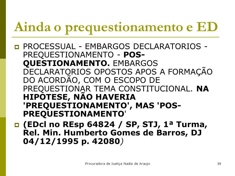Procuradora de Justiça Nadia de Araujo39 Ainda o prequestionamento e ED  PROCESSUAL - EMBARGOS DECLARATORIOS - PREQUESTIONAMENTO - POS- QUESTIONAMENT