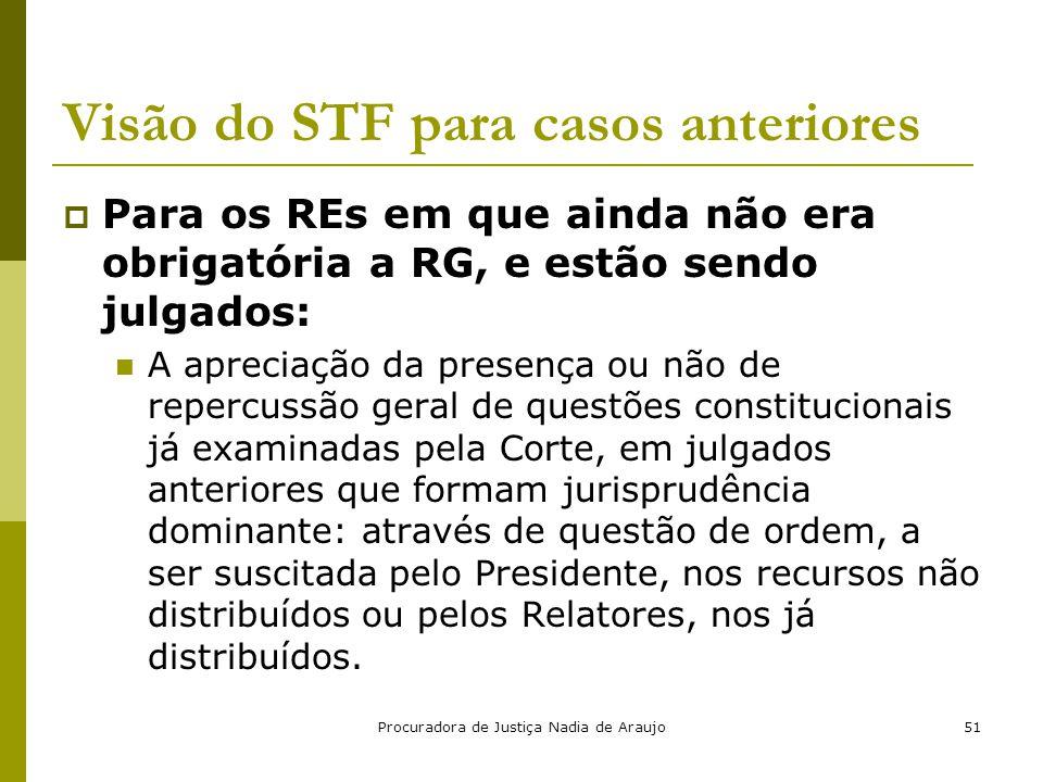 Procuradora de Justiça Nadia de Araujo51 Visão do STF para casos anteriores  Para os REs em que ainda não era obrigatória a RG, e estão sendo julgado