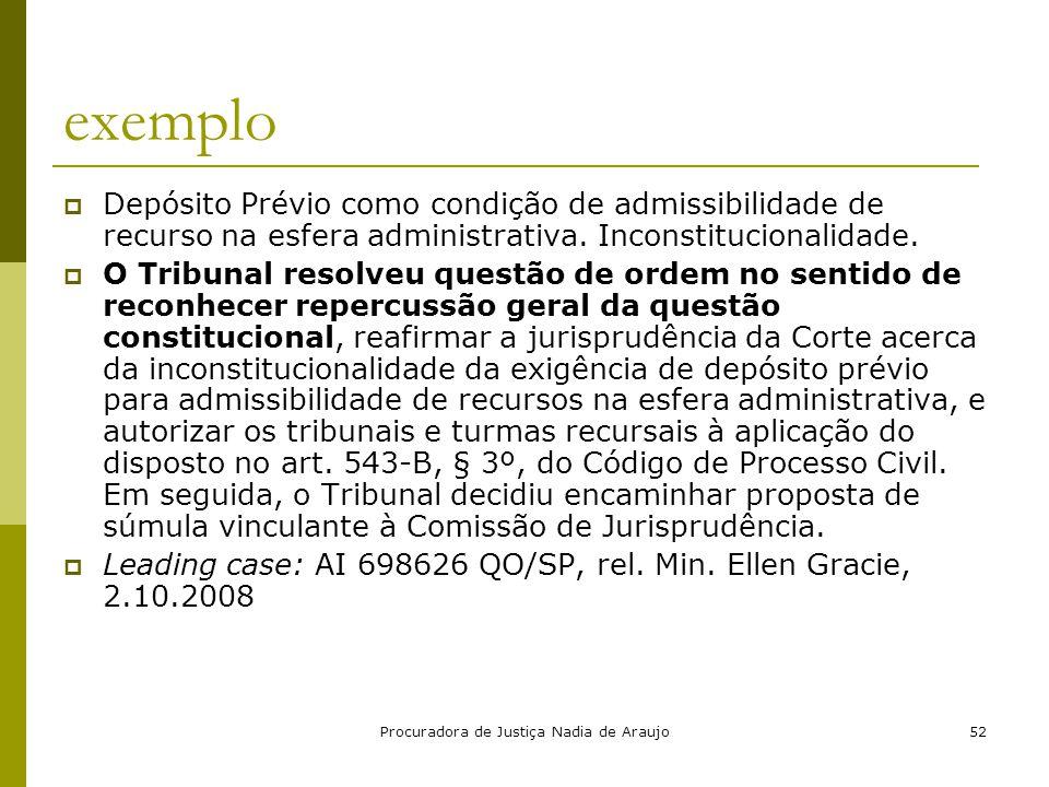 Procuradora de Justiça Nadia de Araujo52 exemplo  Depósito Prévio como condição de admissibilidade de recurso na esfera administrativa. Inconstitucio