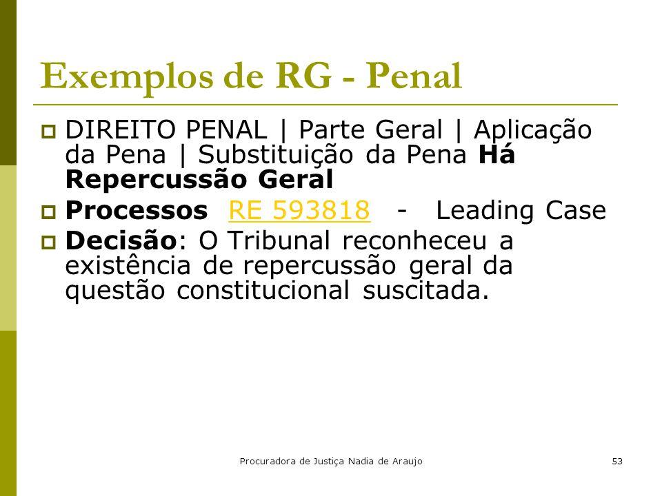 Procuradora de Justiça Nadia de Araujo53 Exemplos de RG - Penal  DIREITO PENAL | Parte Geral | Aplicação da Pena | Substituição da Pena Há Repercussã