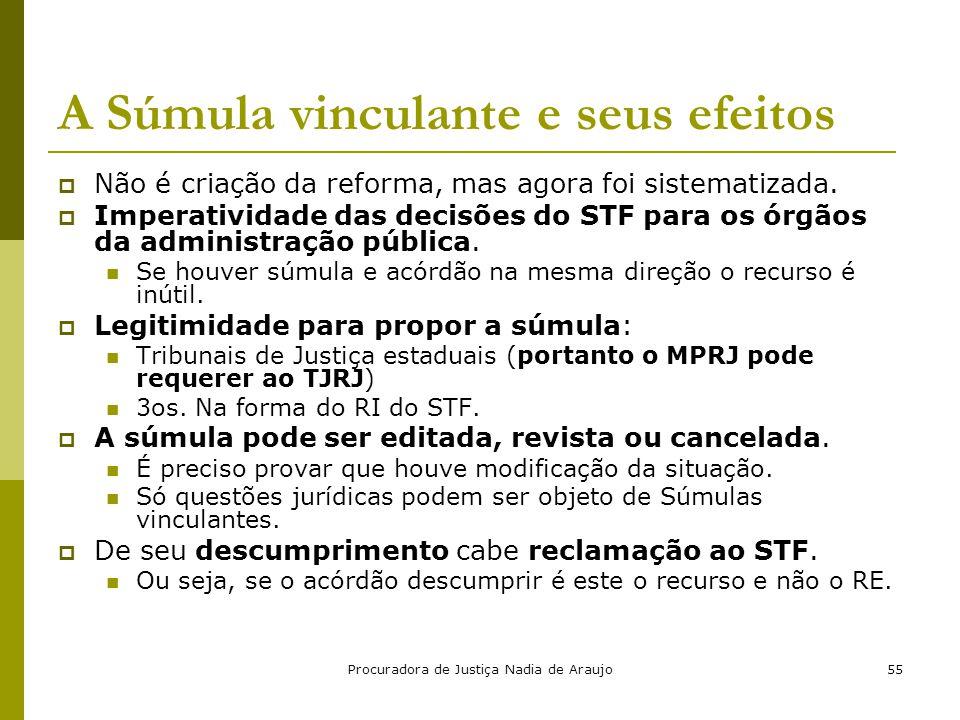 Procuradora de Justiça Nadia de Araujo55 A Súmula vinculante e seus efeitos  Não é criação da reforma, mas agora foi sistematizada.  Imperatividade
