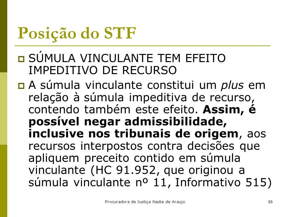 Procuradora de Justiça Nadia de Araujo56 Posição do STF  SÚMULA VINCULANTE TEM EFEITO IMPEDITIVO DE RECURSO  A súmula vinculante constitui um plus e