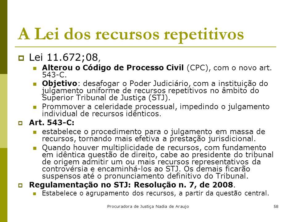 Procuradora de Justiça Nadia de Araujo58 A Lei dos recursos repetitivos  Lei 11.672;08, Alterou o Código de Processo Civil (CPC), com o novo art. 543