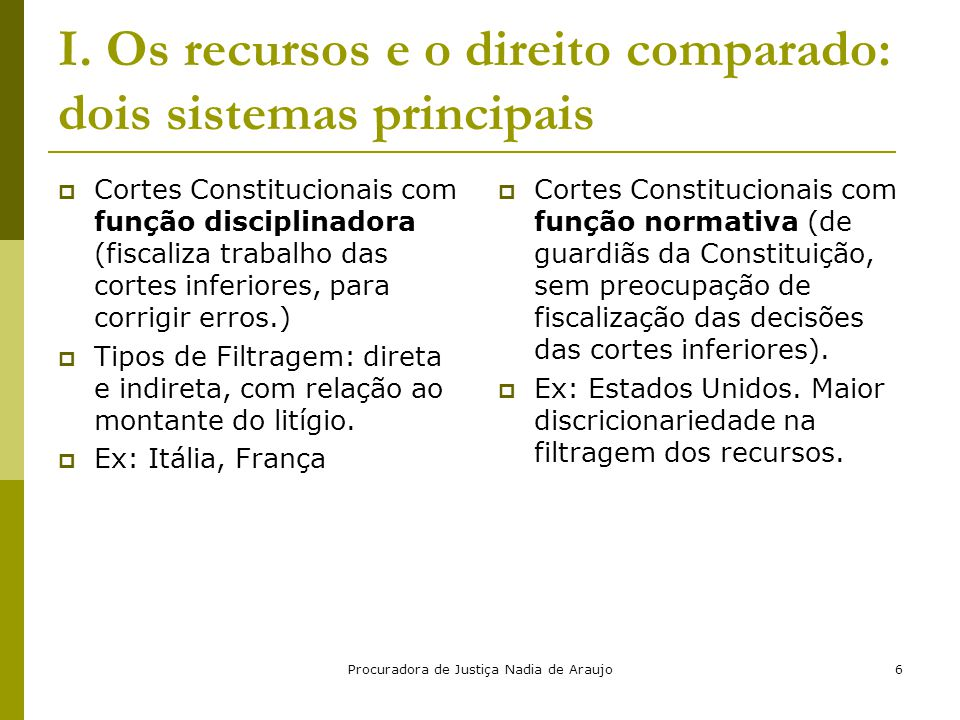 Procuradora de Justiça Nadia de Araujo6 I. Os recursos e o direito comparado: dois sistemas principais  Cortes Constitucionais com função disciplinad
