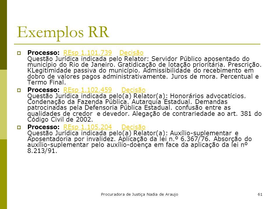Procuradora de Justiça Nadia de Araujo61 Exemplos RR  Processo: REsp 1.101.739 Decisão Questão Jurídica indicada pelo Relator: Servidor Público apose
