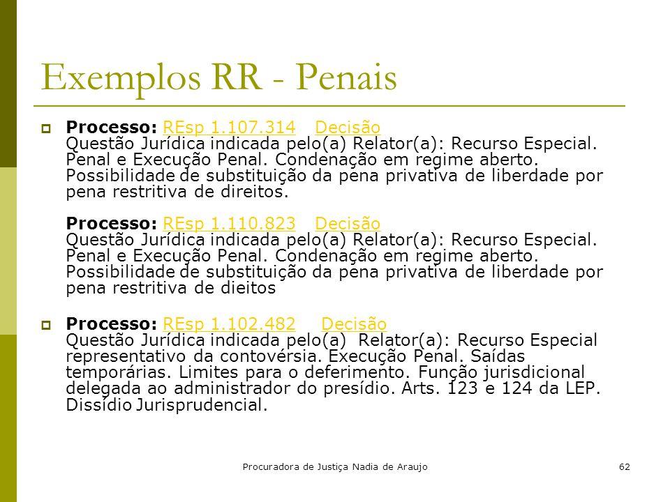 Procuradora de Justiça Nadia de Araujo62 Exemplos RR - Penais  Processo: REsp 1.107.314 Decisão Questão Jurídica indicada pelo(a) Relator(a): Recurso