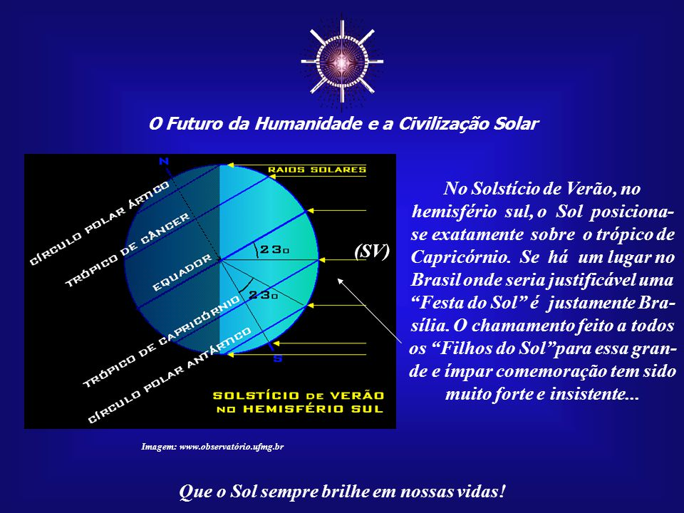☼ O Futuro da Humanidade e a Civilização Solar Que o Sol sempre brilhe em nossas vidas! Imagem: www.observatório.ufmg.br O simbolismo de Brasília reve