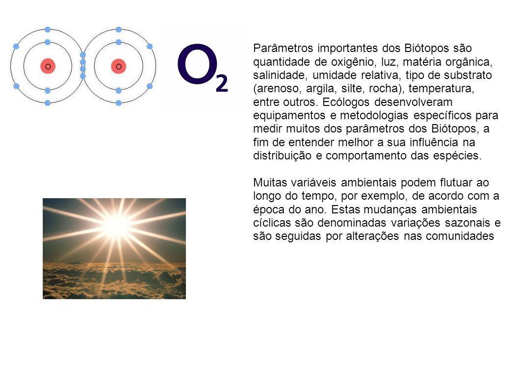 Parâmetros importantes dos Biótopos são quantidade de oxigênio, luz, matéria orgânica, salinidade, umidade relativa, tipo de substrato (arenoso, argila, silte, rocha), temperatura, entre outros.
