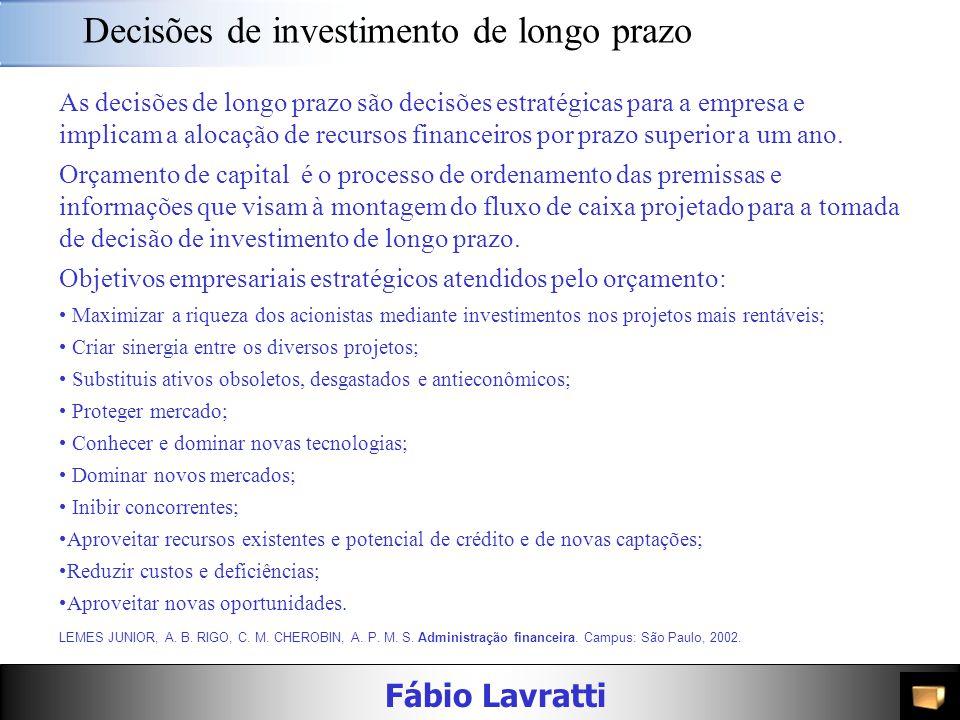 Fábio Lavratti Decisões de longo prazo A decisão de investimento de longo prazo é a decisão mais importante que o administrador financeiro pode tomar,