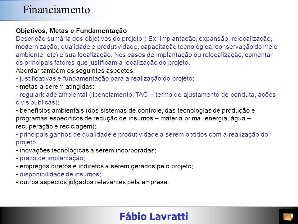 Fábio Lavratti Financiamento Caracterização da Empresa/Grupo breve histórico das atividades da empresa, destacando apenas os fatos mais relevantes; se