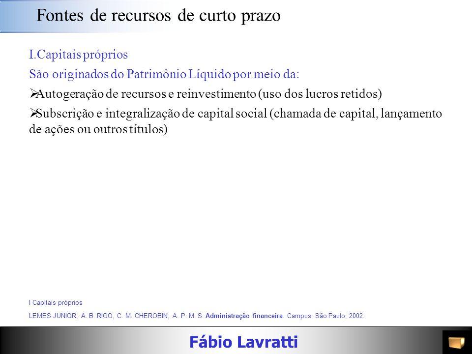 Fábio Lavratti Fontes de recursos de curto prazo As empresas muitas vezes precisam buscar empréstimos de curto prazo para financiar os ativos circulan