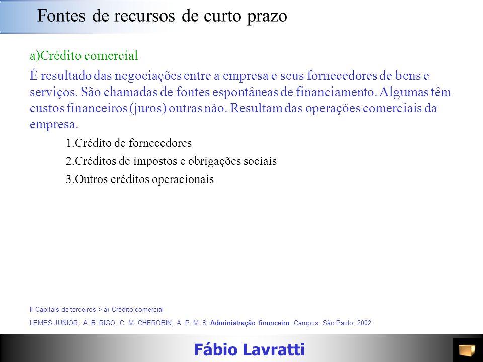 Fábio Lavratti Fontes de recursos de curto prazo II.Capitais de terceiros Representam o endividamento da empresa. Demandam pagamento de encargos finan