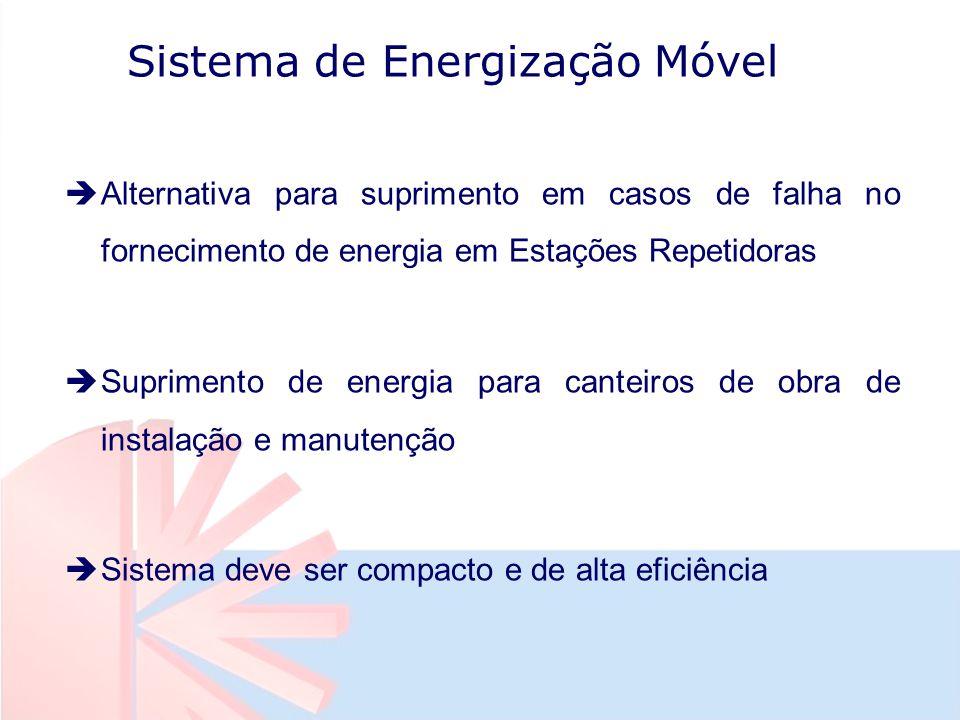 Sistema de Energização Móvel èAlternativa para suprimento em casos de falha no fornecimento de energia em Estações Repetidoras èSuprimento de energia para canteiros de obra de instalação e manutenção èSistema deve ser compacto e de alta eficiência