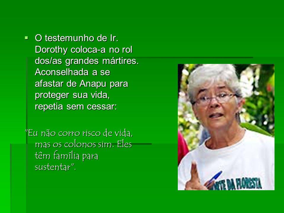  Como Conferência dos Religiosos do Brasil, vínhamos acompanhando a trajetória profética de Ir. Dorothy que já sofrera graves acusações e ameaças de