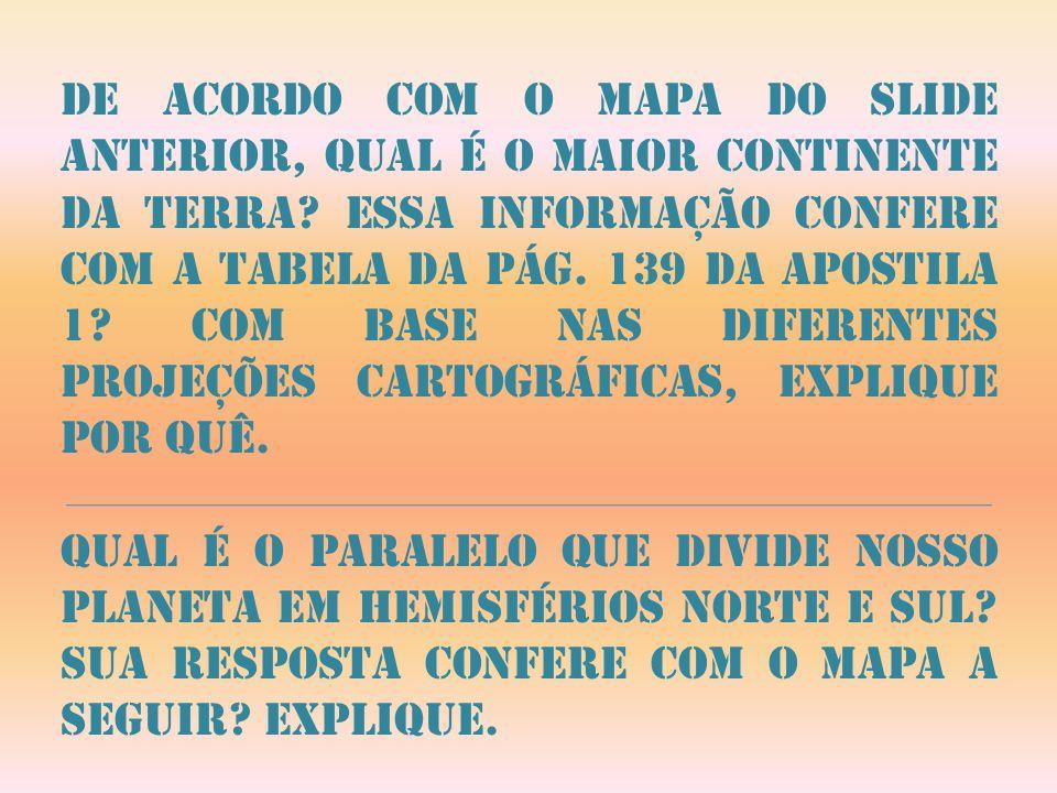 De acordo com o mapa do slide anterior, qual é o maior continente da terra? Essa informação confere com a tabela da pág. 139 da apostila 1? Com base n