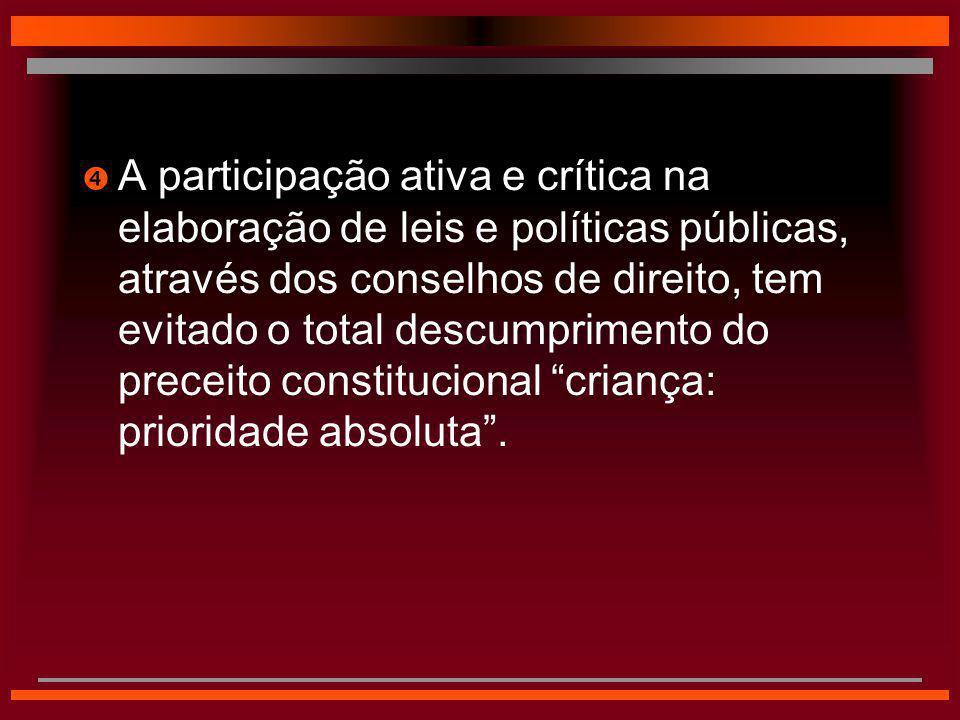  A participação ativa e crítica na elaboração de leis e políticas públicas, através dos conselhos de direito, tem evitado o total descumprimento do p