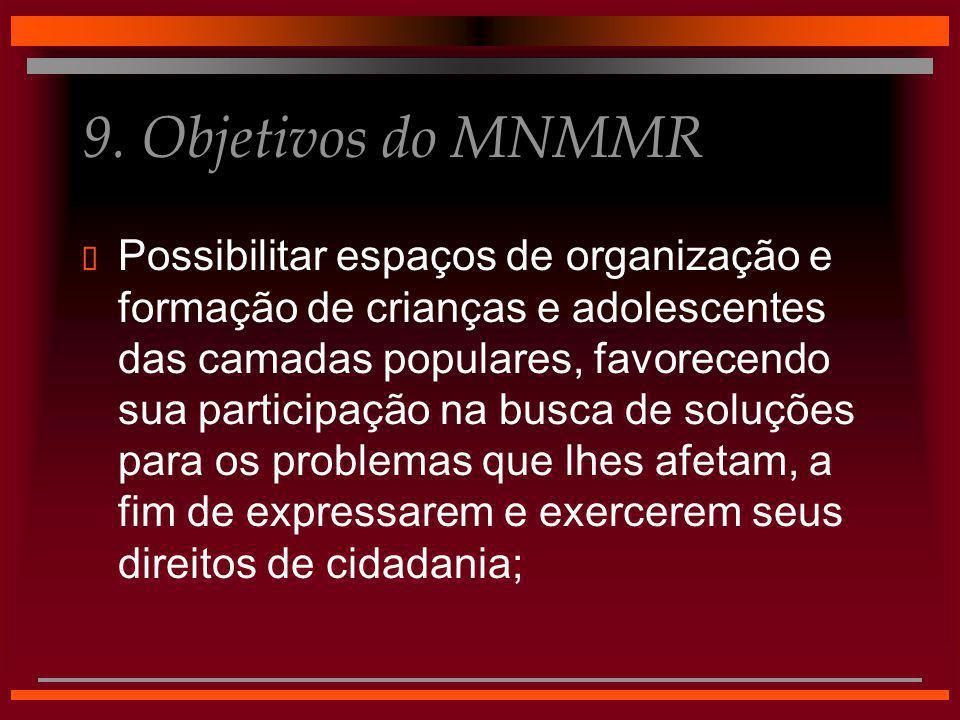 9. Objetivos do MNMMR  Possibilitar espaços de organização e formação de crianças e adolescentes das camadas populares, favorecendo sua participação