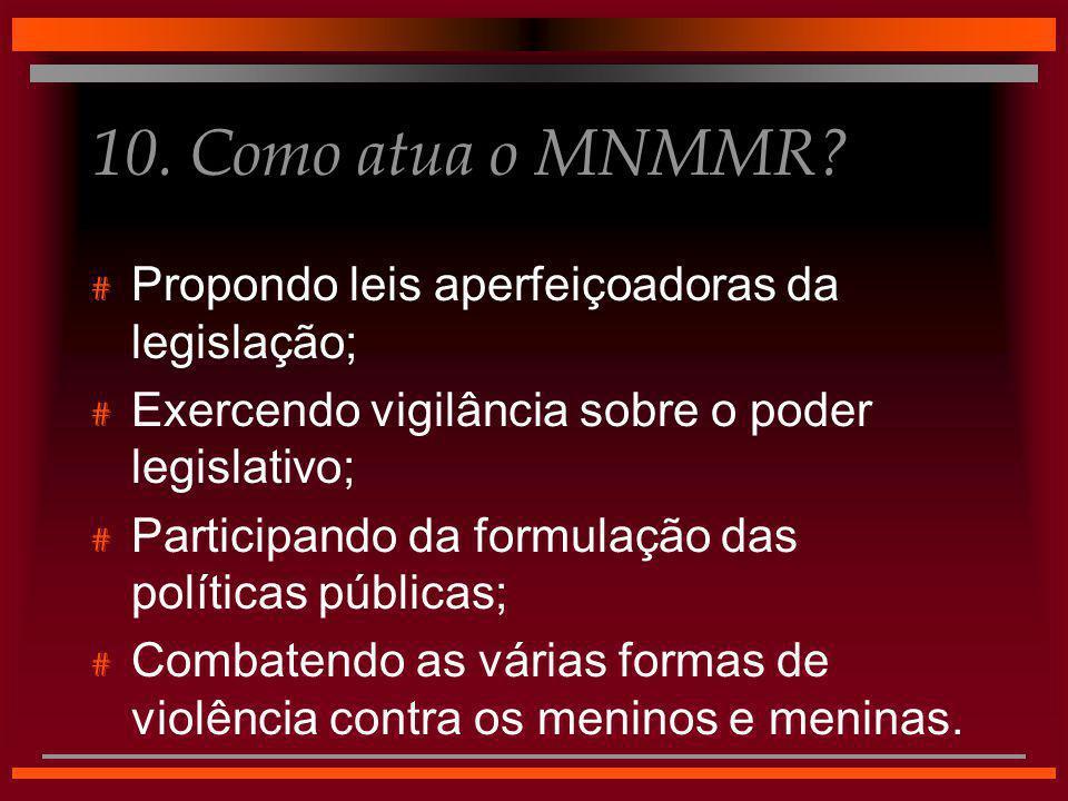 10. Como atua o MNMMR? # Propondo leis aperfeiçoadoras da legislação; # Exercendo vigilância sobre o poder legislativo; # Participando da formulação d
