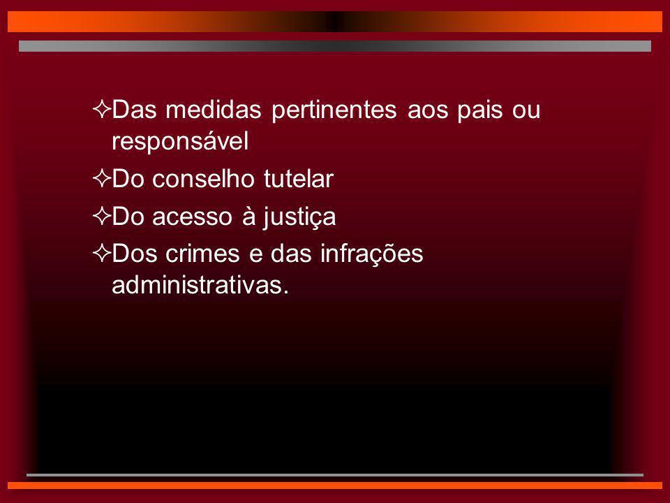  Das medidas pertinentes aos pais ou responsável  Do conselho tutelar  Do acesso à justiça  Dos crimes e das infrações administrativas.