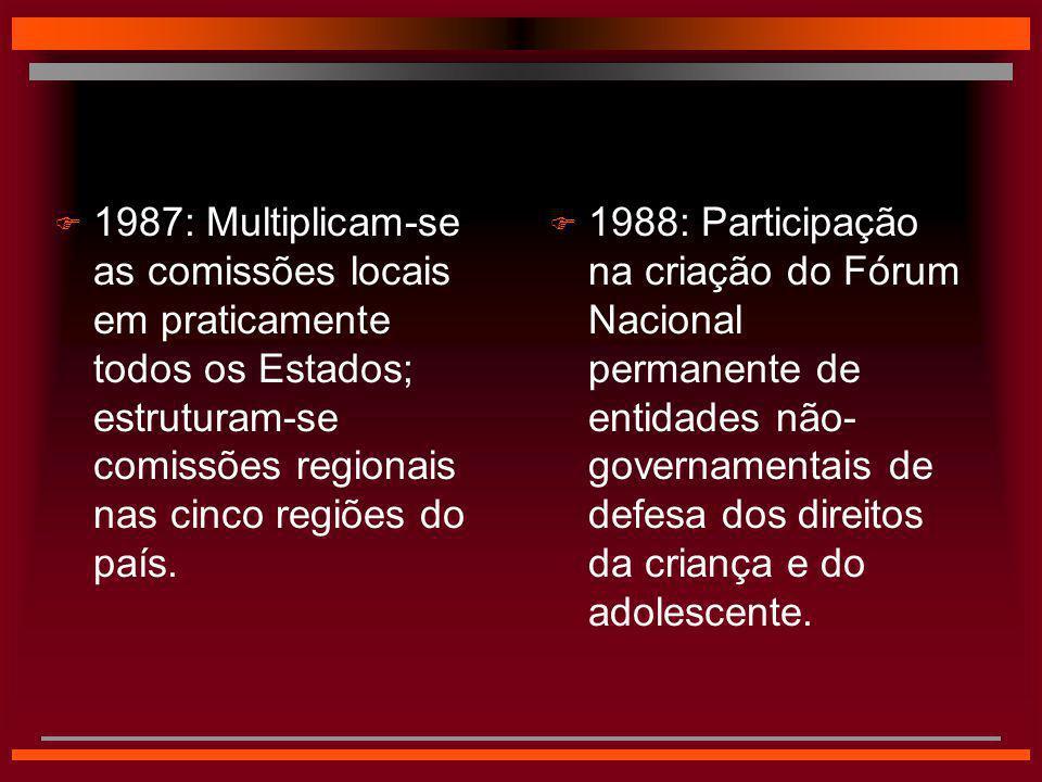  1988: Participação na criação do Fórum Nacional permanente de entidades não- governamentais de defesa dos direitos da criança e do adolescente.  19
