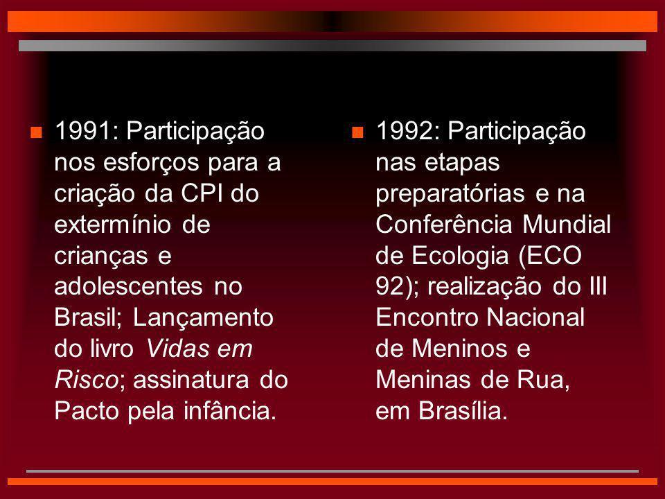 n 1992: Participação nas etapas preparatórias e na Conferência Mundial de Ecologia (ECO 92); realização do III Encontro Nacional de Meninos e Meninas
