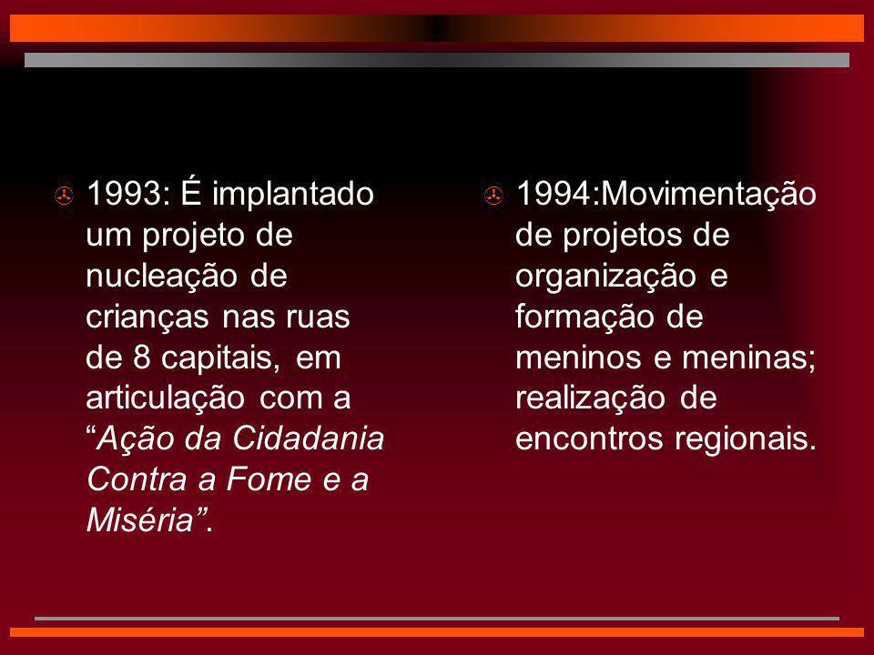  1994:Movimentação de projetos de organização e formação de meninos e meninas; realização de encontros regionais.  1993: É implantado um projeto de