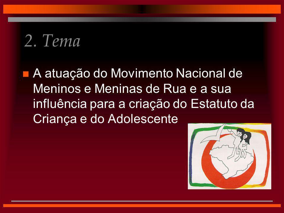 2. Tema n A atuação do Movimento Nacional de Meninos e Meninas de Rua e a sua influência para a criação do Estatuto da Criança e do Adolescente