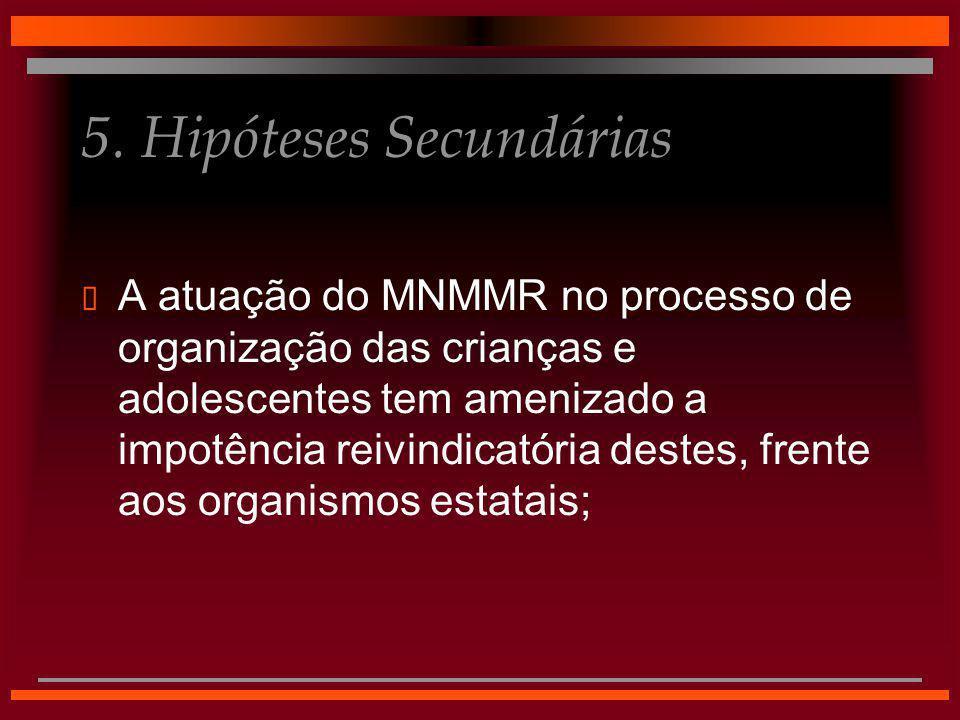 5. Hipóteses Secundárias  A atuação do MNMMR no processo de organização das crianças e adolescentes tem amenizado a impotência reivindicatória destes