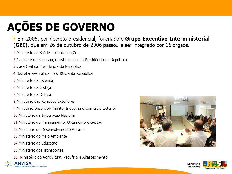  Em 2005, por decreto presidencial, foi criado o Grupo Executivo Interministerial (GEI), que em 26 de outubro de 2006 passou a ser integrado por 16 ó