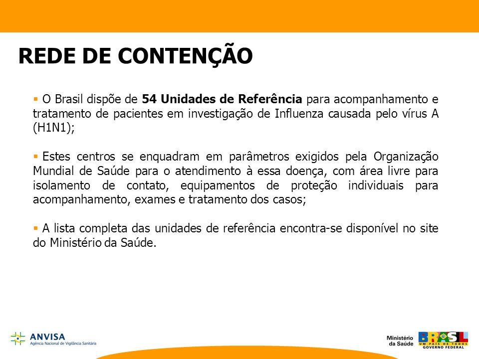  O Brasil dispõe de 54 Unidades de Referência para acompanhamento e tratamento de pacientes em investigação de Influenza causada pelo vírus A (H1N1);