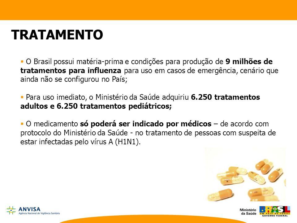 TRATAMENTO  O Brasil possui matéria-prima e condições para produção de 9 milhões de tratamentos para influenza para uso em casos de emergência, cenár