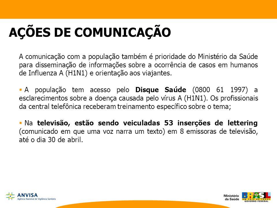 A comunicação com a população também é prioridade do Ministério da Saúde para disseminação de informações sobre a ocorrência de casos em humanos de In