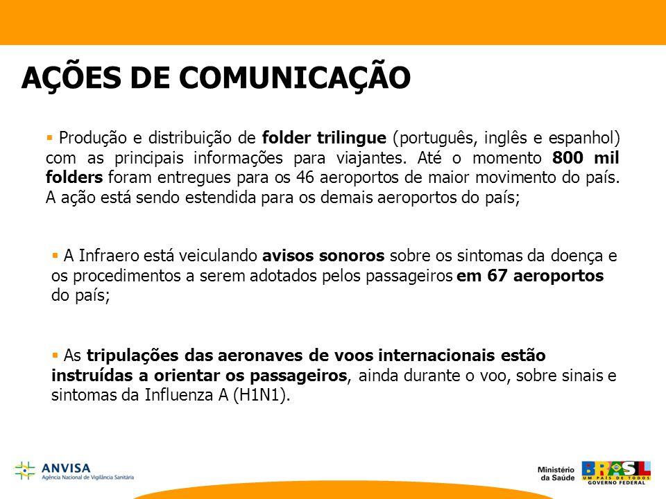  Produção e distribuição de folder trilingue (português, inglês e espanhol) com as principais informações para viajantes. Até o momento 800 mil folde