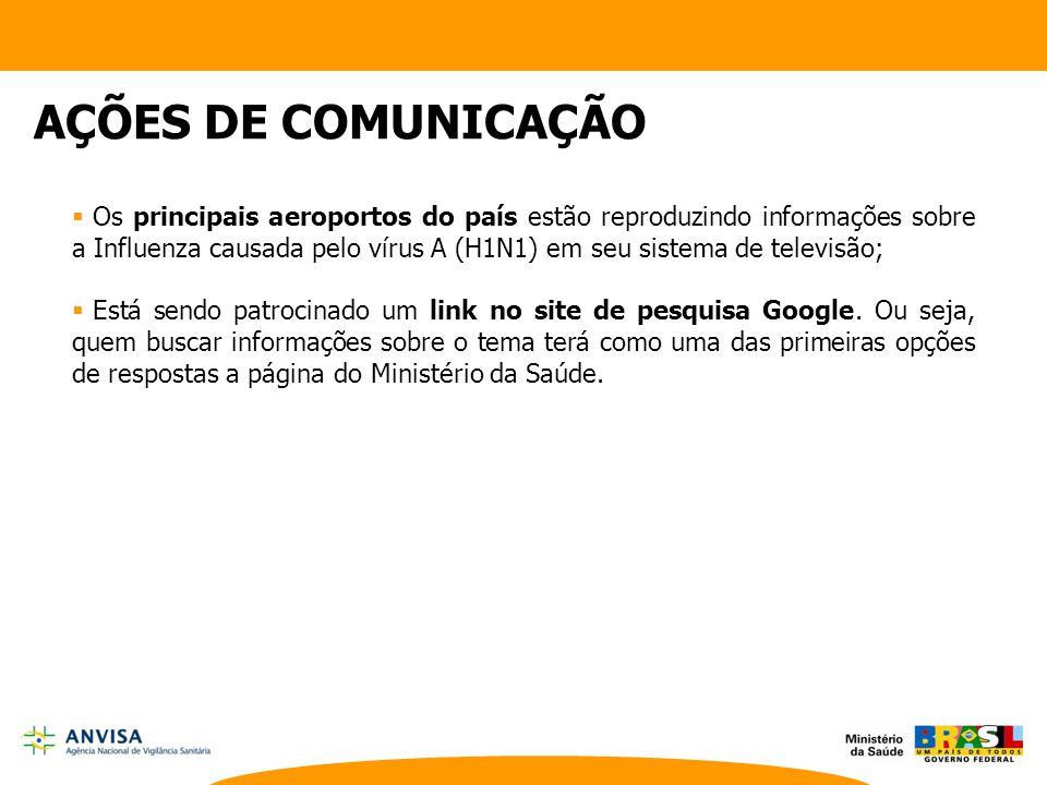  Os principais aeroportos do país estão reproduzindo informações sobre a Influenza causada pelo vírus A (H1N1) em seu sistema de televisão;  Está se