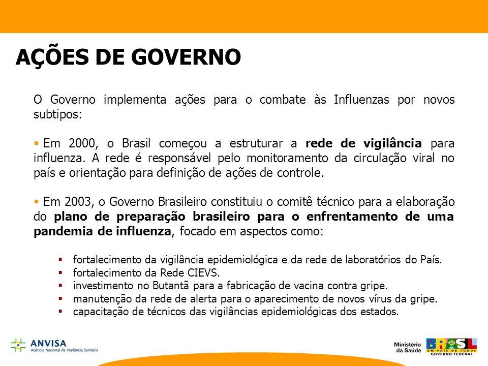 O Governo implementa ações para o combate às Influenzas por novos subtipos:  Em 2000, o Brasil começou a estruturar a rede de vigilância para influen