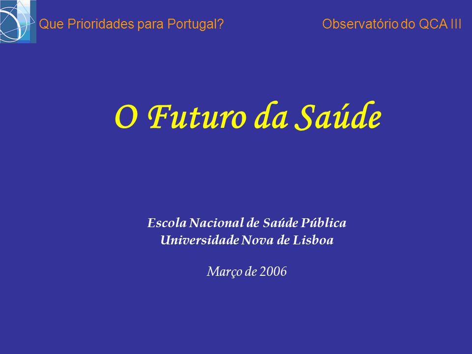 Escola Nacional de Saúde Pública Universidade Nova de Lisboa Março de 2006 O Futuro da Saúde Que Prioridades para Portugal Observatório do QCA III