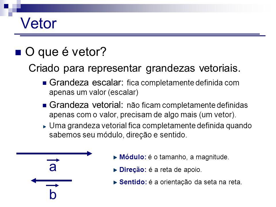 Vetor O que é vetor.Criado para representar grandezas vetoriais.
