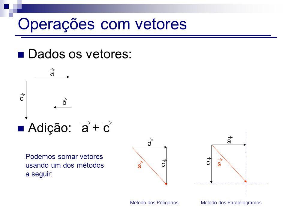 Operações com vetores Dados os vetores: Adição: a + c c a b a c s a c s Método dos Polígonos Método dos Paralelogramos Podemos somar vetores usando um dos métodos a seguir: