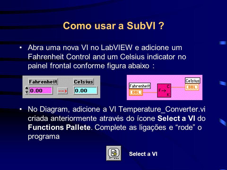 Como usar a SubVI .