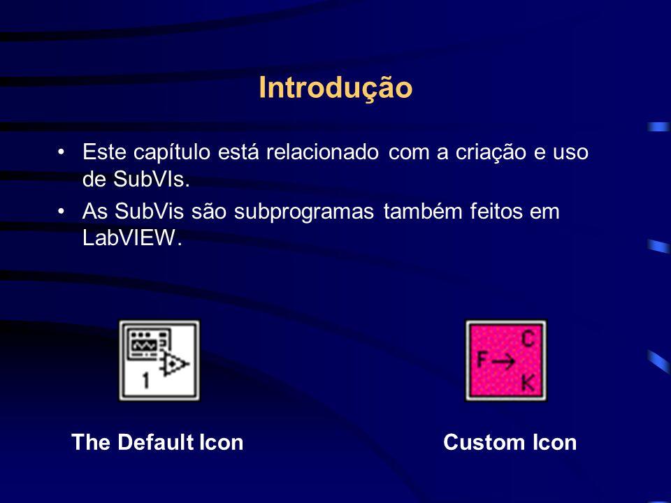 Introdução Este capítulo está relacionado com a criação e uso de SubVIs. As SubVis são subprogramas também feitos em LabVIEW. The Default IconCustom I