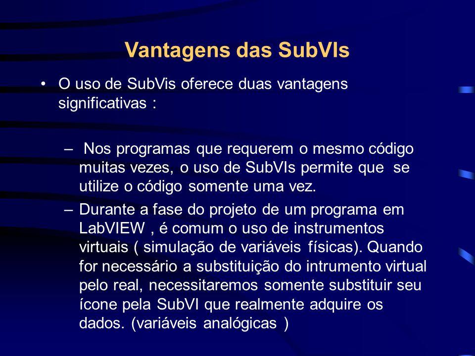 Vantagens das SubVIs O uso de SubVis oferece duas vantagens significativas : – Nos programas que requerem o mesmo código muitas vezes, o uso de SubVIs permite que se utilize o código somente uma vez.