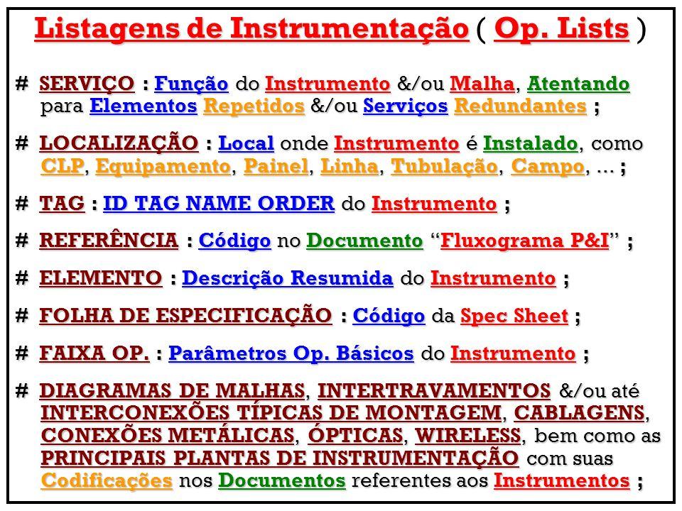 Listagens de InstrumentaçãoOp.Lists Listagens de Instrumentação ( Op.