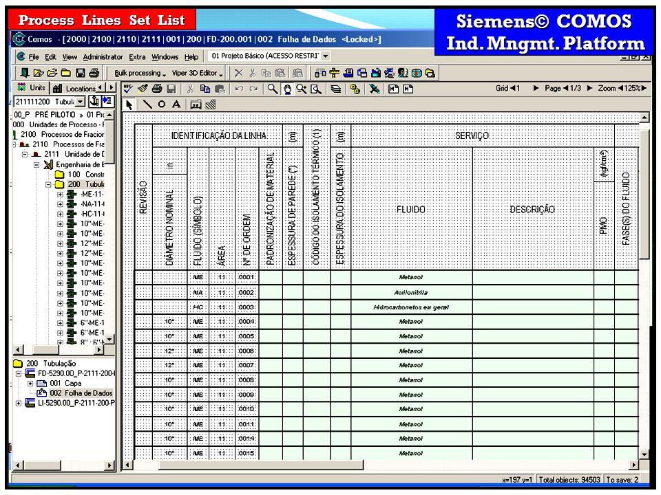Siemens© COMOS Ind. Mngmt. Platform Ind. Mngmt. Platform Process Lines Set List