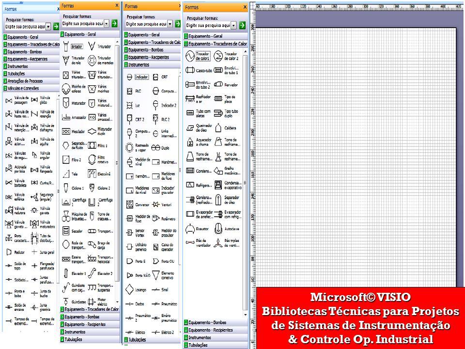 Microsoft© VISIO Bibliotecas Técnicas para Projetos de Sistemas de Instrumentação & Controle Op.