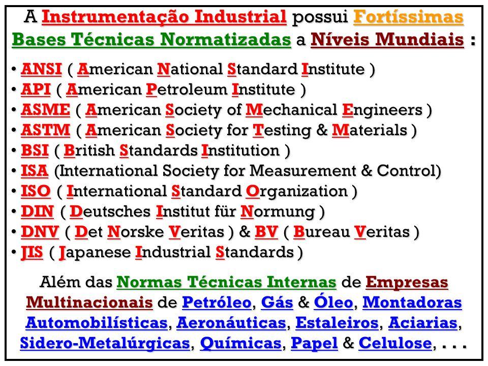 Conjuntos de Normas ISA Diretamente Aplicadas para Instrumentação, Controle & Automação Industrial ISA 5.1 – Instrumentation Symbols & IdentificationISA 5.1 – Instrumentation Symbols & Identification ISA 5.2 - Binary Logic Diagrams for Process OperationsISA 5.2 - Binary Logic Diagrams for Process Operations ISA 5.3 – Graphic Symbols for Distributed Control / SharedISA 5.3 – Graphic Symbols for Distributed Control / Shared Display Instrumentation, Logic & Computer Sys Display Instrumentation, Logic & Computer Sys ISA 5.4 – Instrument Loop DiagramsISA 5.4 – Instrument Loop Diagrams ISA 5.5 – Graphic Symbols for Process DisplaysISA 5.5 – Graphic Symbols for Process Displays ISA 5.6 – Functional Requirements Documentation forISA 5.6 – Functional Requirements Documentation for Control Software Applications Control Software Applications ISA 12.1 – Definitions & Information Pertaining to ElectricalISA 12.1 – Definitions & Information Pertaining to Electrical Equipments in Harzadous (Classified) Locations Equipments in Harzadous (Classified) Locations ISA 99 – Security for Industrial Automation & Control Sys –ISA 99 – Security for Industrial Automation & Control Sys – Part 1: Terminology, Concepts & Models Part 1: Terminology, Concepts & Models ISA TR 99 – Security for Industrial Automation Control SysISA TR 99 – Security for Industrial Automation Control Sys