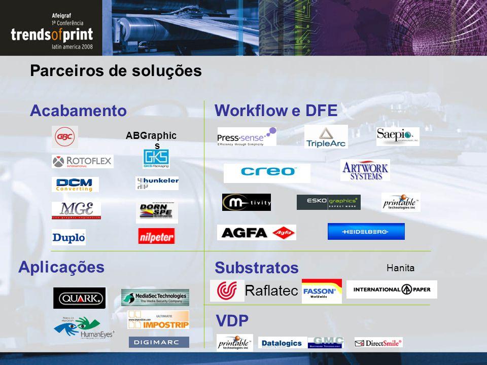 Parceiros de soluções Substratos Acabamento Aplicações VDP Workflow e DFE Raflatec Hanita ABGraphic s